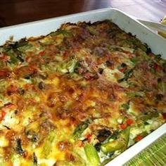 Overnight Asparagus Mushroom Strata Recipe - sounds good but I think I will sauté all veggies, add dried or fresh thyme and substitute Colby-jack cheese for Gruyere. Great Recipes, Favorite Recipes, Healthy Recipes, Strata Recipes, Good Food, Yummy Food, Stuffed Mushrooms, Stuffed Peppers, Lunches And Dinners