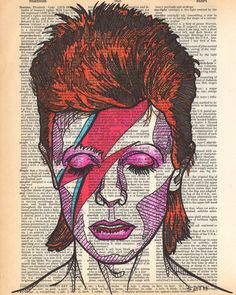 artist David Bowie drawn on an aged and yellowed dictionary page with the term stardust on it Portrait done of his iconic character Ziggy Stardust This was created with colored pens as a tribute to the late rocker - drawings David Bowie Poster, David Bowie Art, David Bowie Tattoo, Pop Art, Comics Vintage, Art Visage, Rock Poster, Davy Jones, Ziggy Stardust