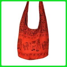 e1842628456d Tonka Cotton Shoulder Bag Cotton Elephant Original Print Sling Bag Purse  Cross body Messenger Purse Hippie Hobo Color Orange     Be sure to check  out this ...