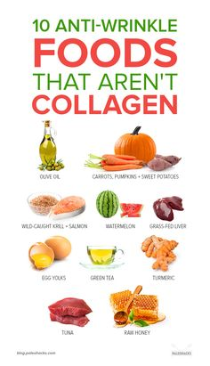 collagen works wonders on preventing wrinkles. But having a well-rounded anti-aging diet is key. Here are 10 more wrinkle-fighting foods youll want to add to your plate. Health And Nutrition, Health And Wellness, Health Tips, Nutrition Shakes, Nutrition Guide, Health Facts, 1200 Calories, Anti Aging, Healthy Smoothie