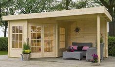 Hoekmodel blokhut / tuinhuisje met plat dak model Isabel 250 met afmetingen 250 x 250 cm (b x d) en overkapping van 250 cm breed van Outdoor Life Products #tuinhuisje #blokhut #afdak #overkapping