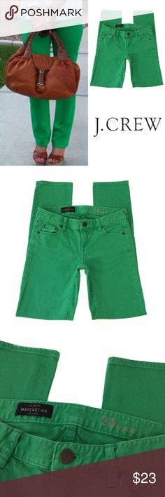 j. crew • matchstick jeans J. Crew kelly green matchstick jeans. Cotton with a hint of stretch for an extra comfortable fit. Sits lower on hips. Slim through hip and thigh, with a slim, straight leg. Traditional 5-pocket styling. In good condition- no stains or holes. Great color for spring and summer. J. Crew Jeans Skinny