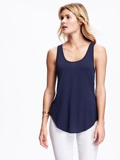 Relaxed Curved-Hem Scoop-Neck Tank for Women