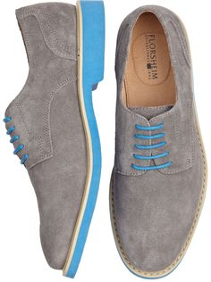 Shoes - Florsheim Jeremy Gray Suede Lace Ups - Mens Wearhouse