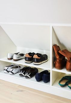 Take advantage of the place under the sloping walls for a shoe rack - Hunt for unused space and use it for storage