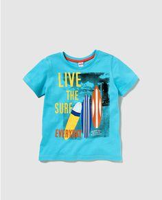 Camiseta de niño Freestyle turquesa con print