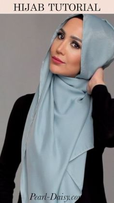 Check out more and on Pearl Daisy! Click the link to check it out… - Powder Blue Hijab Tutorial from Pearl Daisy Stylish Hijab, Modest Fashion Hijab, Modern Hijab Fashion, Hijab Fashion Inspiration, Muslim Fashion, Simple Hijab Tutorial, Hijab Style Tutorial, Turkish Hijab Tutorial, Turban Tutorial