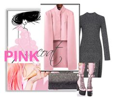 """pink coat"" by sahrish-hossain ❤ liked on Polyvore featuring BCBGMAXAZRIA, Jimmy Choo and Current Mood"