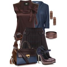 Dark Chocolate & Night Sky by yasminasdream on Polyvore featuring мода, D&G, Only Limitless, Warehouse, ASOS, Salvatore Ferragamo, Dana Buchman and Eskandar