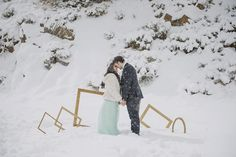 Engagement shooting. Winter inspiration shooting.  Pink, peach and mint colors. Snow shooting.