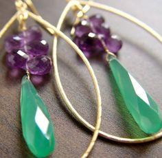 Emerald green onyx amethyst gold cluster hoop earrings by Frieda Sophie.