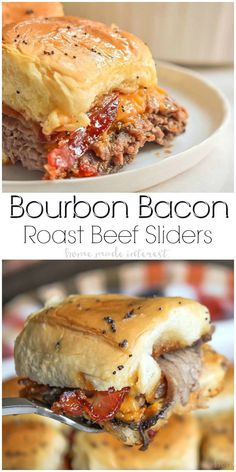 These Bourbon Bacon Roast Beef Sliders are an easy slider recipe that makes a great game day recipe and an easy summer party appetizer! Easy Appetizer Recipes, Appetizers For Party, Easy Dinner Recipes, Party Snacks, Bourbon Recipes, Beef Recipes, Cooking Recipes, Sausage Recipes, Carne Asada