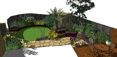 Artificial lawn is the perfect solution in this family garden overshadowed by large trees outside of the plot. Landscape Design, Garden Design, Cuprinol Garden Shades, Circular Patio, Sandstone Paving, Hardwood Decking, Fiberglass Planters, Earth Design, Family Garden