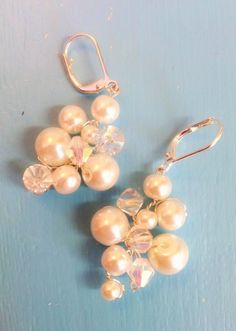 Pearl and crystal cluster earrings. $25.00, via Etsy.