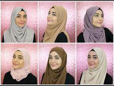 Square Hijab Tutorial, Simple Hijab Tutorial, Hijab Style Tutorial, Hijabs, Hijab Fashionista, Abaya Designs, Couture, Hair Cuts, Chiffon