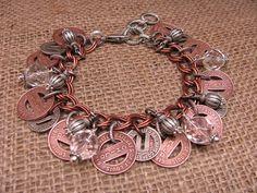 Transit Token Jewelry - St. Louis Themed Copper and Silver Transit Token Bracelet via Etsy
