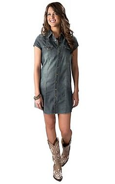 Cowgirl Justice Women's Denim Short Sleeve Dress