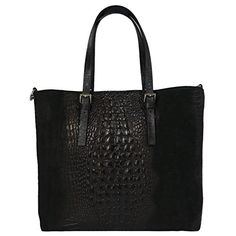 Italian Leather Shoulder Bag with Crocodile Print, Carelli Italia FLORENCE Black Florence, Cute Tote Bags, Italian Leather, Crocodile, Leather Shoulder Bag, Black, Wallets, Bags, Black People
