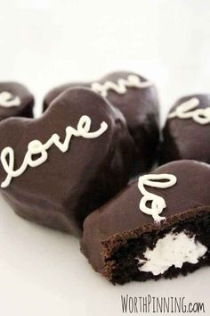 Cream Filled Chocolate Heart Cakes