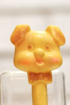 Vintage Baby Toy Yellow Dog by CabinOn6th on Etsy, $3.00