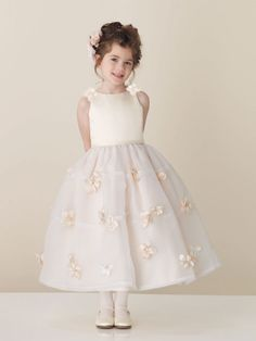 Tea-length ball gown organza short sleeve flower girl dress; if izzy has one more chance of being a flower girl!