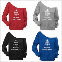 New Women Christmas Winter Hoodie Sweatshirt Jumper Hooded Pullover Top Slash Neck Pullovers(China (Mainland))