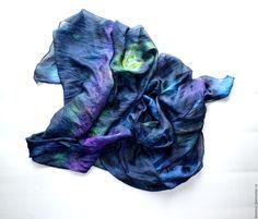 Купить тёмно синий шарф шёлковый жатый шёлк эксельсиор подарок женщине