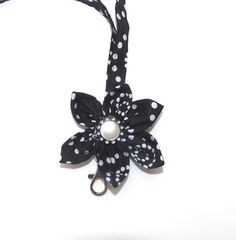 Lanyard Black and white with Kanzashi Flower by SouthernSister2, $12.00