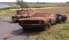 Six bodies were discovered in two cars found on the bottom of Lake Foss in Oklahoma on Tuesday. The cars, both at least 40 years old, were discovered when th. Abandoned Cars, Abandoned Places, Abandoned Vehicles, Abandoned Ships, Muscle Cars, Oklahoma Lakes, Elk City, Rust In Peace, Cold Case