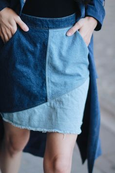 PATCHWORK DENIM SKIRT – Belle Melange
