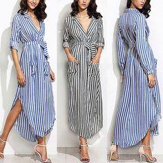 $12.99 - Women Fashion Casual Loose Long Sleeve Stripe Belted Blouse Tops Shirts Dress #ebay #Fashion