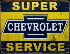 Super Chevy Service Tin Sign 16'W x 12.5'H >>> Learn more by visiting the image link. (This is an affiliate link) #Plaques