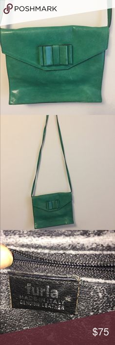 Vintage Furla leather green purse crossbody bow Good vintage used condition Furla Italian leather crossbody and clutch (can be either), with bow detailing Furla Bags Crossbody Bags