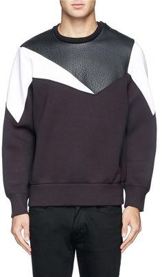 b2cff8e4e Neil Barrett Geometric leather panel bonded jersey sweatshirt on shopstyle .com