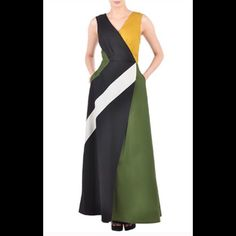 "New Eshakti Faux Wrap Colorblock Maxi Dress Sz 14 New Eshakti colorblock faux wrap maxi dress. Size 14 Measured flat: Underarm to underarm: 38"" Waist: 32"" Length: 57"" Floor length for 5'5"" Eshakti chart for bust size 14:40"" Pleated surplice bodice w/ snap closure, hidden side zipper, contrasting colorblock panels. Cotton, woven poplin, pre-shrunk, smooth finish, light crisp feel, no stretch, mid-weight. Machine wash Eshakti Dresses Maxi"