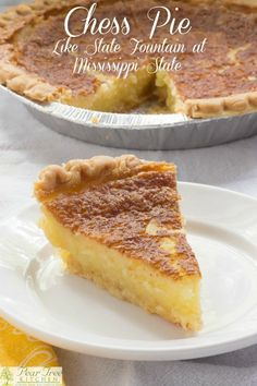 Food Photography: Chess Pie - Home - Chess Pie Recipe. Rich southern pie made with simple ingredients butter, sugar, and eggs. Köstliche Desserts, Delicious Desserts, Dessert Recipes, Cake Recipes, Fondant Recipes, Picnic Recipes, Health Desserts, Vinegar Pie, Fudge Pie