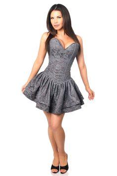 bde868d622f Daisy TD-371 Dark Grey Lace Steel Boned Ruffle Corset Dress