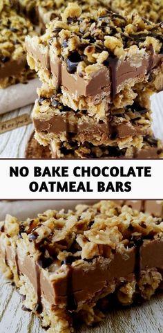 Oatmeal No Bake Cookies, Oatmeal Dessert, Chocolate Oatmeal Cookies, Chocolate Chip Bars, Oatmeal Cupcakes, Oatmeal Cookie Bars, Chocolate Filling, Vanilla Cupcakes, Homemade Oatmeal Bars