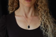 Black Onyx Pendant Handmade Silver Necklace Small by LouiseLeder