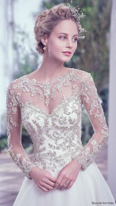 MAGGIE SOTTERO bridal fall 2016 illusion long sleeves sweetheart jewel neck ball gown wedding dress (lorenza) zfv embellished bodice romantic #bridal #wedding #weddingdress #weddinggown #bridalgown #dreamgown #dreamdress #engaged #inspiration #bridalinspiration #weddinginspiration #weddingdresses #sleeves #longsleeves