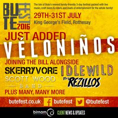 Véloniños join ButeFest 2016. Full line-up and tickets: http://www.butefest.co.uk/
