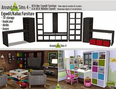 My Sims 4 Blog: IKEA Furniture - TV Unit, Shelves and Desks by San...
