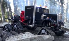 .Big rig on snow tracks.
