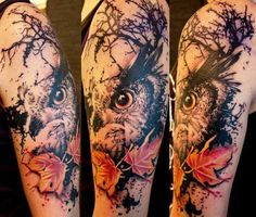 The head of an owl is artistically depicted in this arm portrait tattoo. The work is done with such artistry that you can appreciate the owl from every angle and still find it fascinating and utterly real. The twinkle in the eyes of the bird denote its swift nature to detect its prey effectively in the dark.