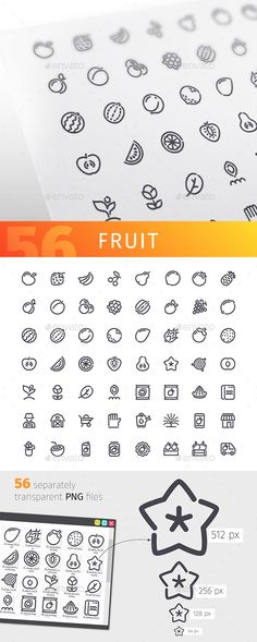 Fruit Line Icons Set. Download here: https://graphicriver.net/item/fruit-line-icons-set/17488332?ref=ksioks