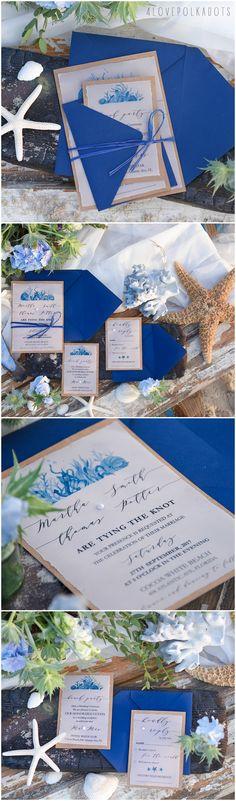 Beach Seaside Wedding Invitations in blue #weddingideas #blue #white #calligraphz #weddinginvitations #weddings #beach #seaside #coastal #romantic #seashells #starfish #weddingideas