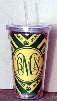 Chevron and monogrammed green and gold Baylor tumbler