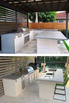 Outdoor Kitchen Design Ideas & Trends for 2020 : BBQGuys Modern Outdoor Kitchen, Outdoor Kitchen Plans, Backyard Kitchen, Outdoor Living, Backyard Bar, Backyard Patio Designs, Casa Patio, Gazebo, Outdoor Grill Area