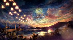 Clouds landscapes trees fireworks scenic anime anime girls cities chinese lantern wallpaper | 2667x1500 | 18868 | WallpaperUP