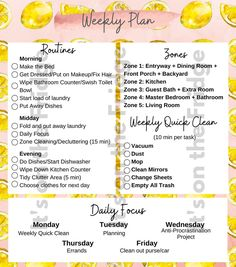 Weekly House Cleaning, Fly Lady Cleaning, Household Cleaning Schedule, Cleaning Checklist Printable, Zone Cleaning, Cleaning Hacks, Flylady Zones, Flylady Control Journal, Be Organized